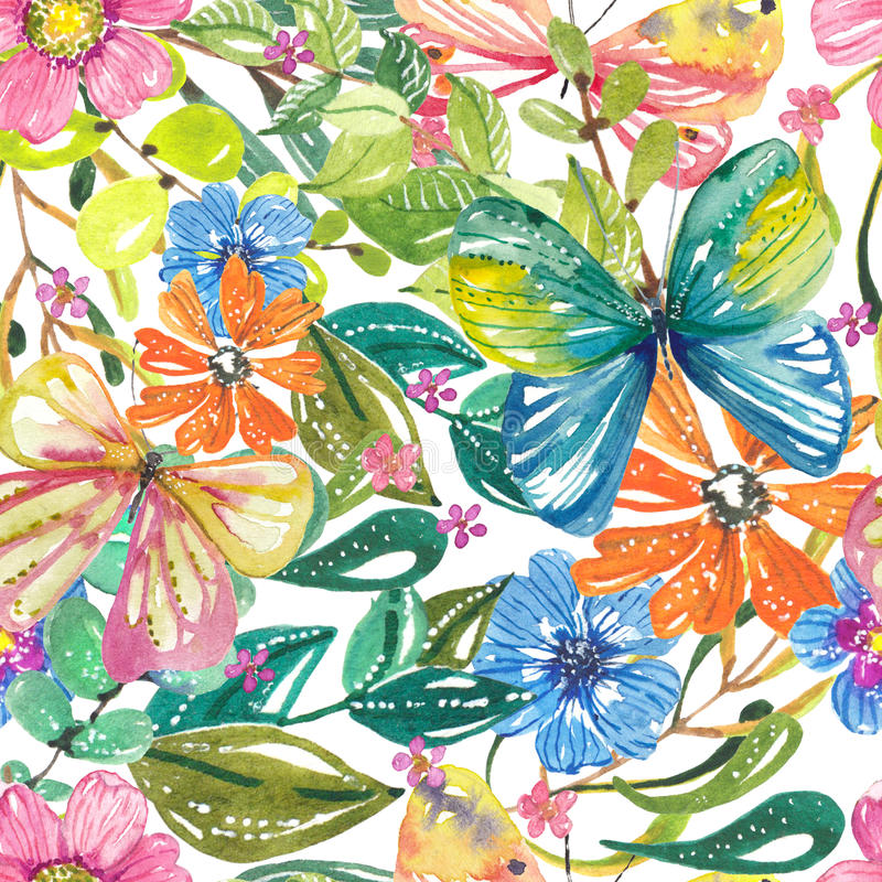 Belle conception florale d'aquarelle avec des papillons, tapotement sans couture illustration de vecteur