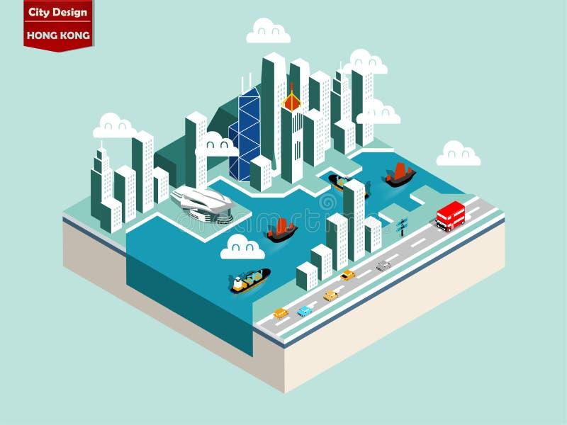 belle conception isométrique de style de ville de Hong Kong illustration libre de droits