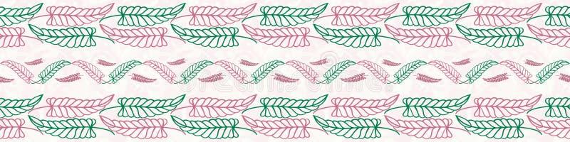 Belle conception verte et rose tirée par la main de frontière de feuilles Modèle géométrique sans couture de vecteur sur le blanc illustration de vecteur