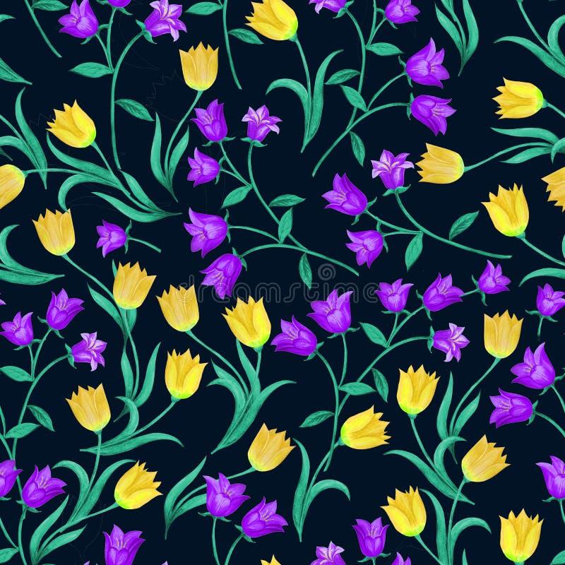 Belle configuration florale sans joint Cloches bleues et tulipes jaunes aléatoirement placées sur le fond noir illustration stock