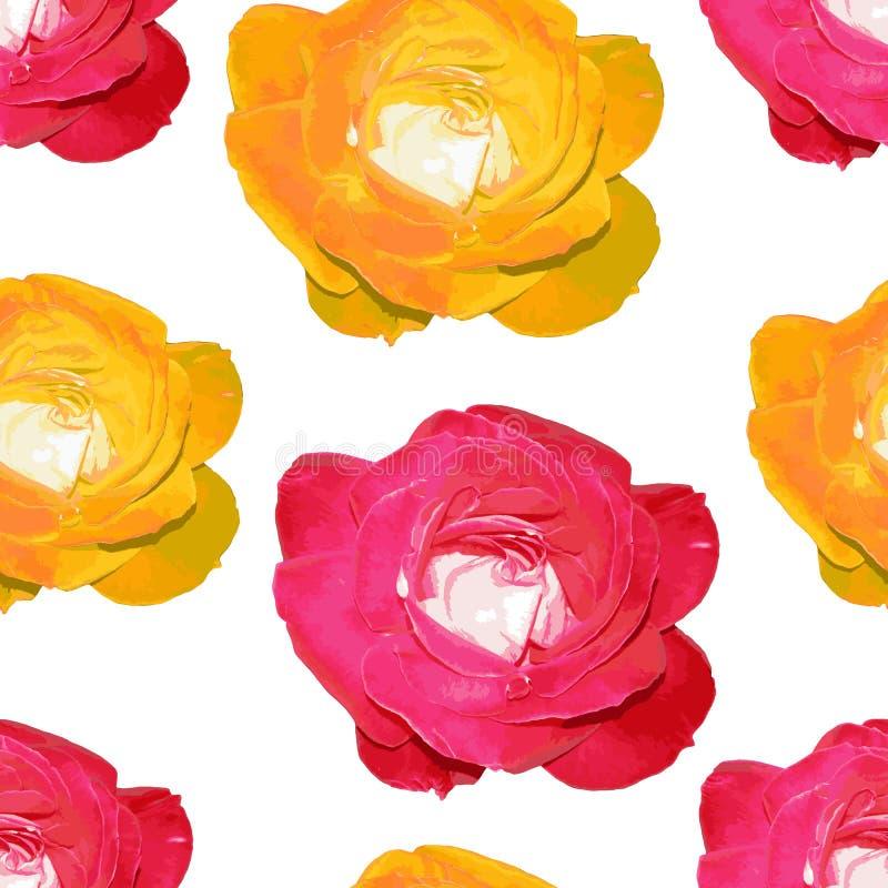 Belle configuration sans joint avec des roses illustration stock