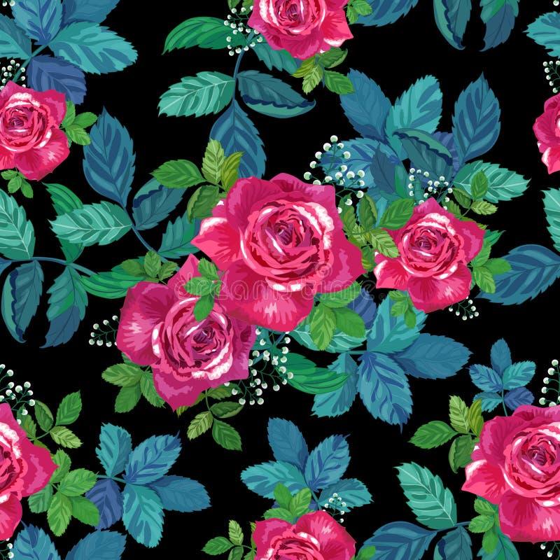 Belle configuration sans joint florale Roses rouges et roses avec les feuilles vertes sur le fond noir illustration libre de droits