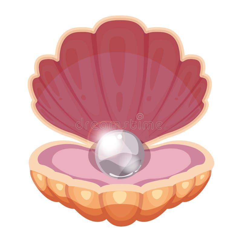 Belle coperture dell'oceano con una perla brillante monili Stile del fumetto Vettore, illustrazione, modello, isolato, bianco illustrazione vettoriale