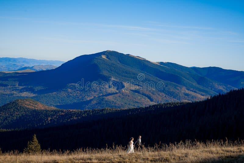 Belle coppie di nozze che camminano sul campo Paesaggio meraviglioso della montagna immagini stock