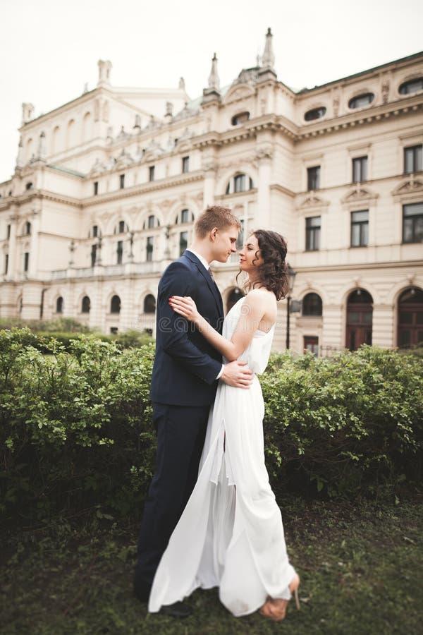 Belle coppie di nozze, sposa, sposo che bacia e che abbraccia contro lo sfondo del teatro fotografia stock libera da diritti