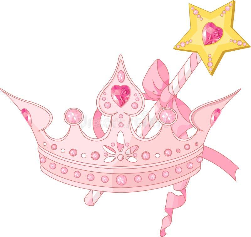 Corona di principessa e bacchetta di magia illustrazione vettoriale