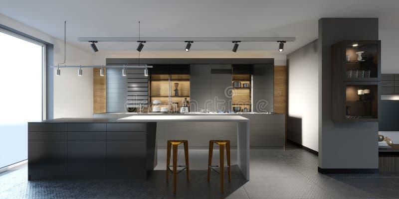 Belle cuisine avec les meubles foncés d'un nouveau grenier illustration libre de droits