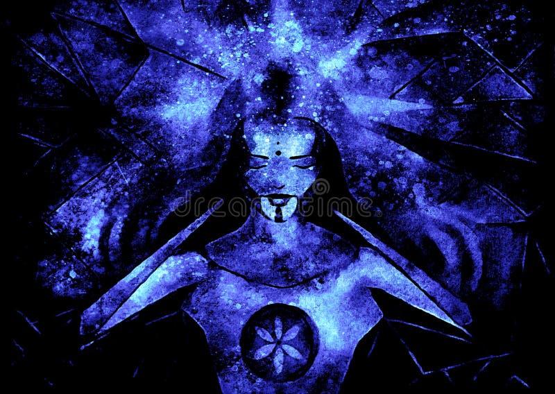 Belle déesse lumineuse de lumière et de vie illustration de vecteur