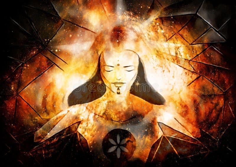 Belle déesse lumineuse de lumière et de vie dans l'espace cosmique illustration de vecteur