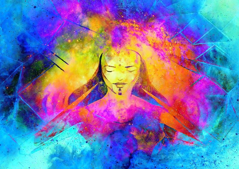 Belle déesse lumineuse de lumière et de vie dans l'espace cosmique illustration stock