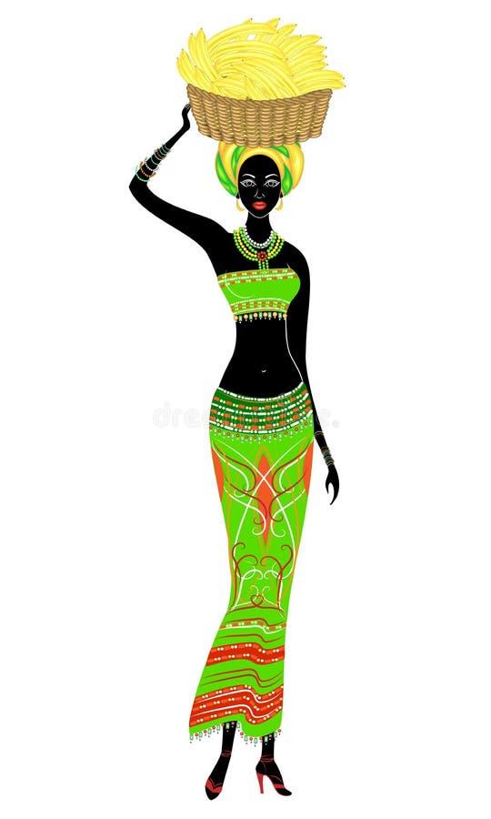 Belle dame afro-am?ricaine mince La fille porte un panier avec des bananes sur sa t?te Illustration de vecteur illustration stock