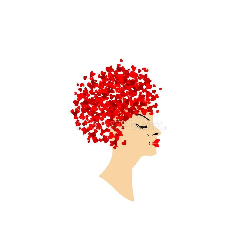 Belle dame avec la coiffure abstraite illustration stock