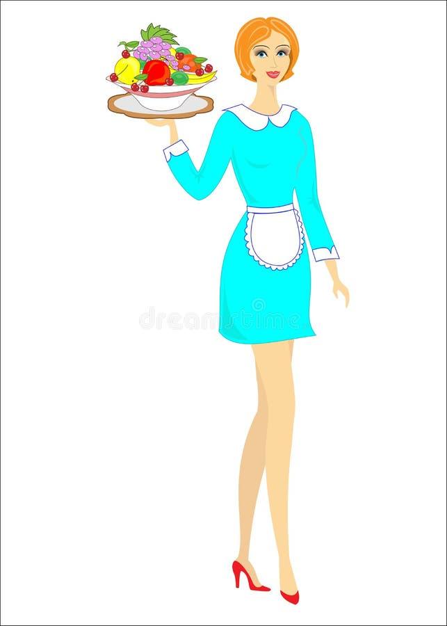 Belle dame bien faite La fille porte un plateau de fruit Une femme a une profession en tant que serveur Illustration de vecteur illustration stock
