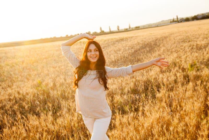 Belle dame dans le domaine de blé images libres de droits
