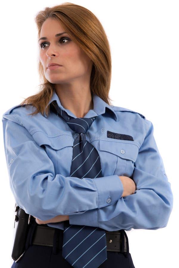 Belle dame dans un uniforme de policier images stock