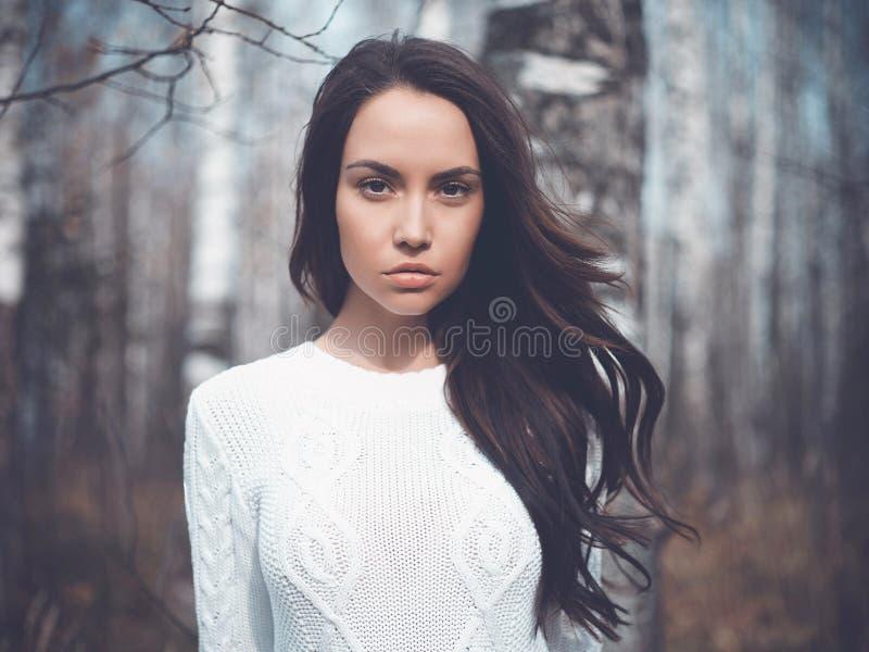 Belle dame dans une forêt de bouleau images stock