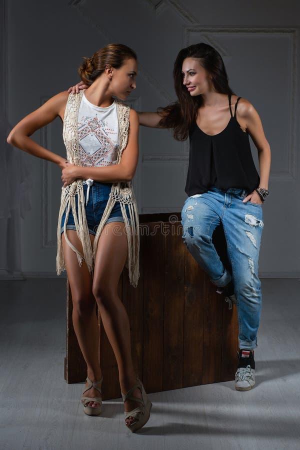 Belle dame deux posant dans un studio images stock