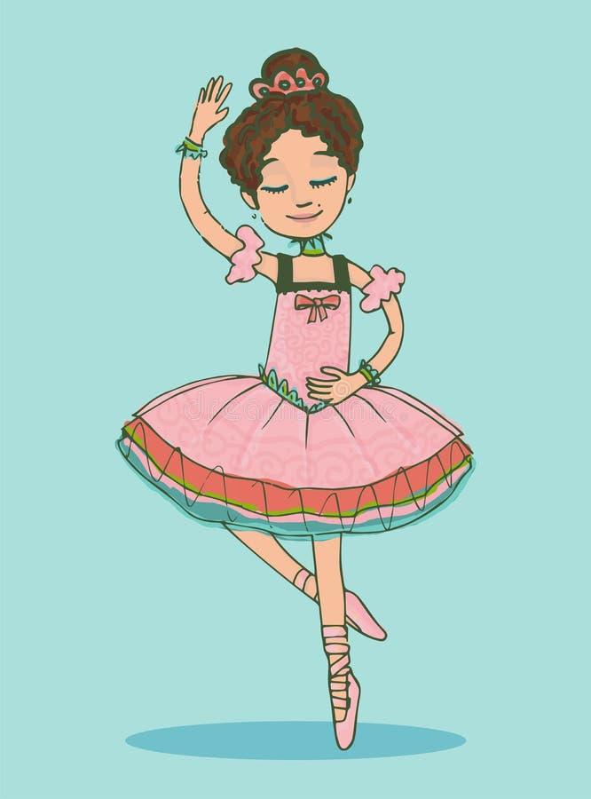Belle danse de fille de ballerine de brune dans la robe rose brillante illustration libre de droits