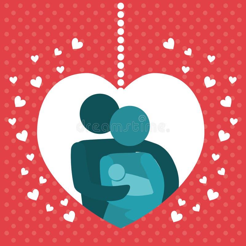 Belle de famille d'affiche décoration de coeurs ensemble illustration stock