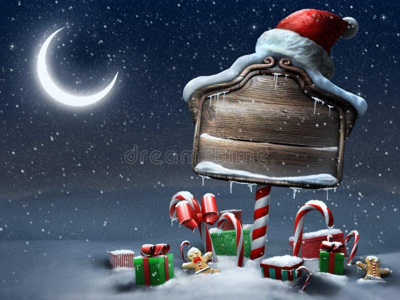 Belle de Noël de signe scène de nuit dehors illustration de vecteur