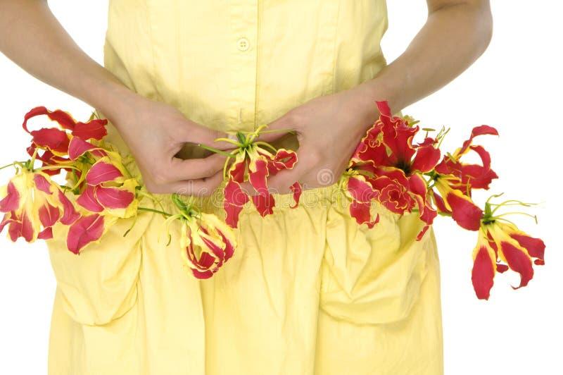 Belle donna ed orchidea fotografia stock libera da diritti