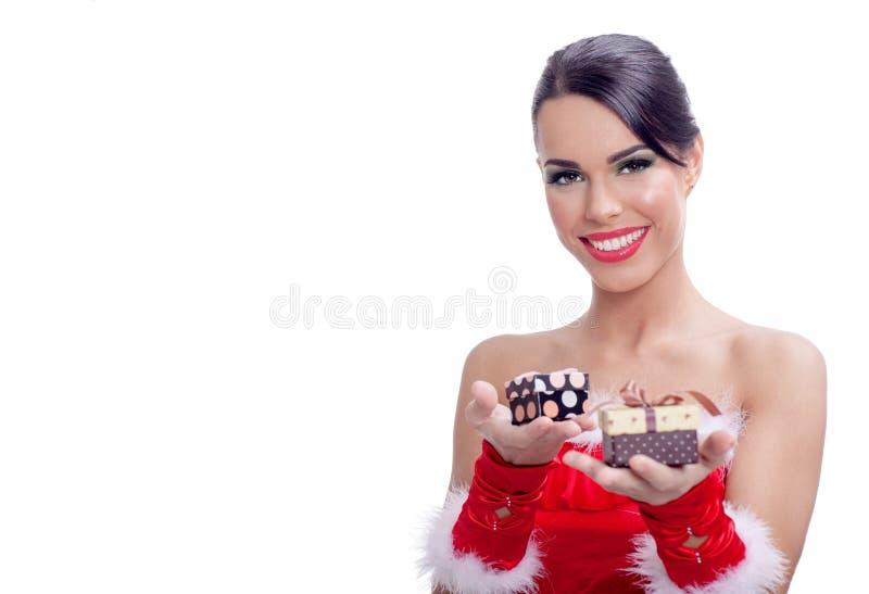 Belle donne attraenti di Santa su fondo bianco immagini stock