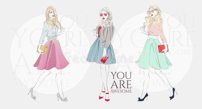 Belle donne bionde in retro vestiti di un modo con la borsa sui tacchi alti Illustrazione disegnata a mano di vettore royalty illustrazione gratis