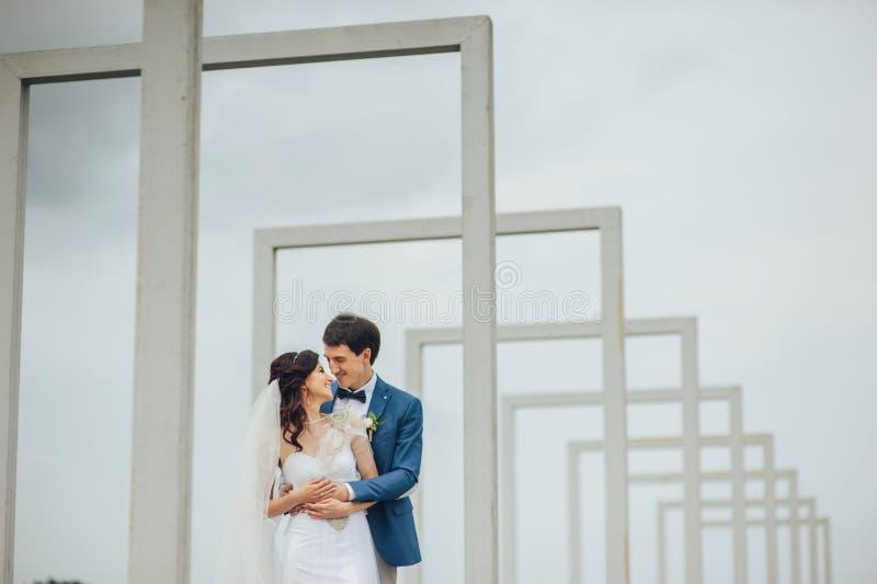 Belle e coppie felici che stanno insieme all'aperto immagine stock