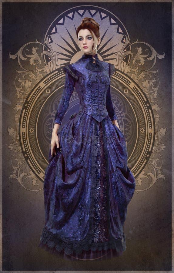 Belle Epoque Gown porpora, 3d CG illustrazione vettoriale
