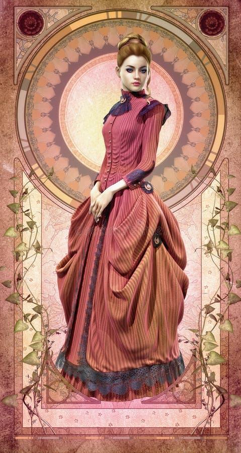 Belle Epoque Gown rosa, 3d CG royalty illustrazione gratis