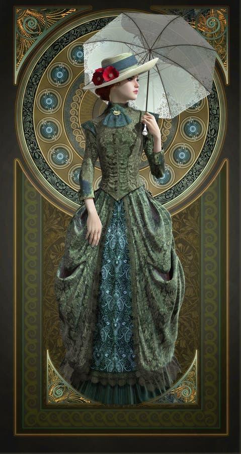 Belle Epoque Gown verde, 3d CG ilustración del vector