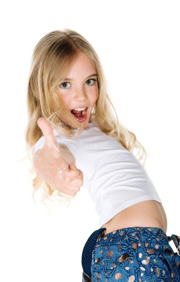 Belle exposition de fille de joie le pouce photos libres de droits