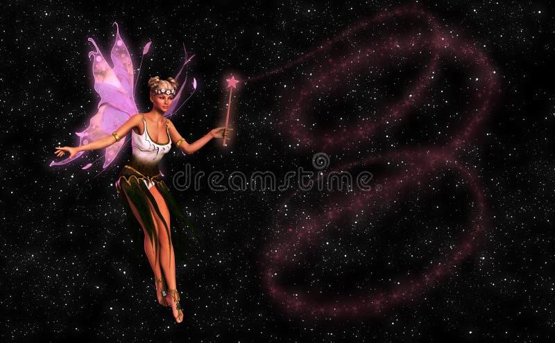 Belle fée avec l'illustration magique de baguette magique illustration stock
