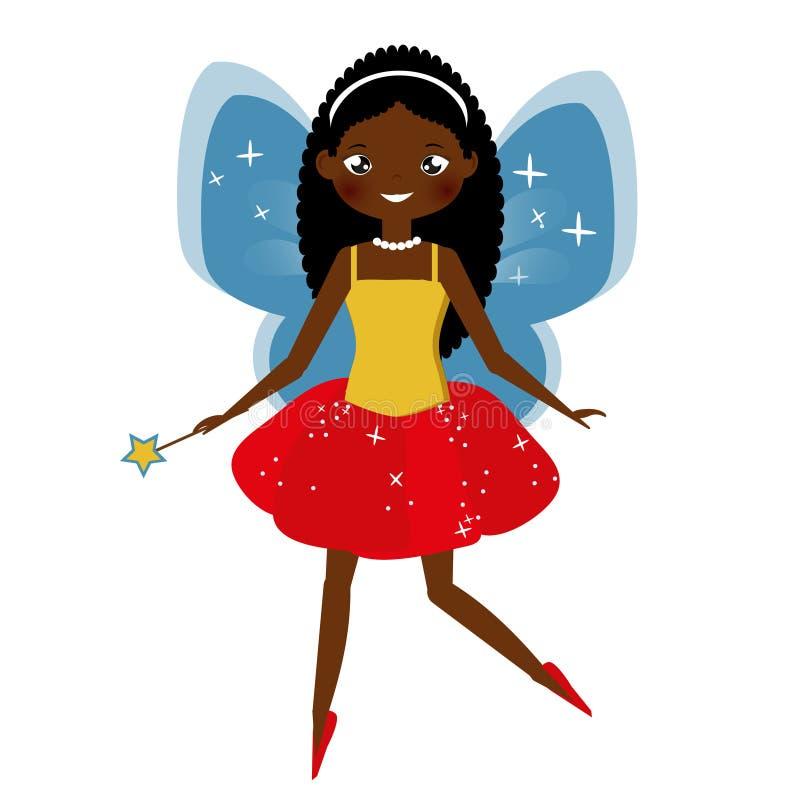 Belle fée avec la baguette magique magique Princesse à ailes d'elfe Style de bande dessinée, caractère de fée d'afro-américain illustration libre de droits