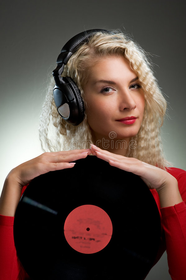 Belle femelle DJ photographie stock