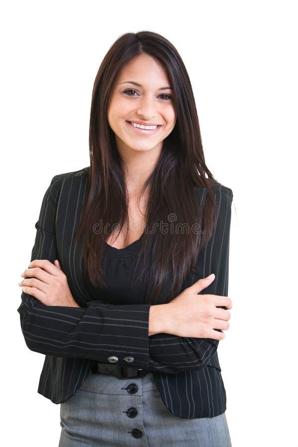Belle femelle hispanique heureuse d'affaires photos stock