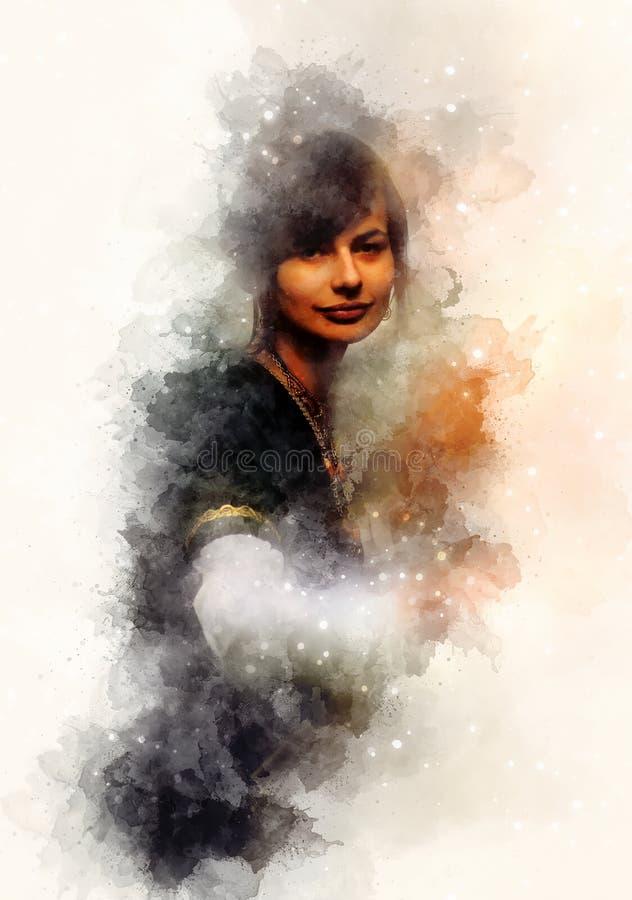Belle femme à un habillement historique et à un arrière-plan doucement brouillé d'aquarelle illustration libre de droits