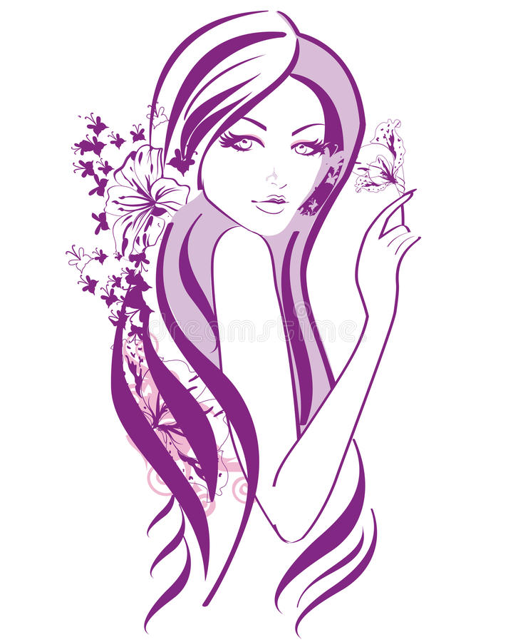 Belle femme abstraite avec des fleurs et des papillons dans les lignes illustration de vecteur