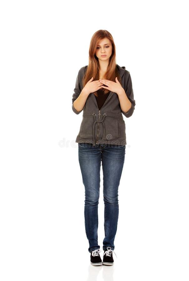 Belle femme adolescente avec la dépression image stock