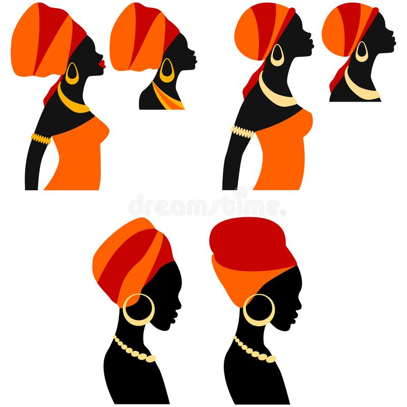 Belle femme africaine de portrait dans le turban traditionnel illustration stock