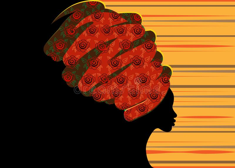 Belle femme africaine de portrait dans le turban traditionnel, silhouette de femmes de couleur illustration de vecteur