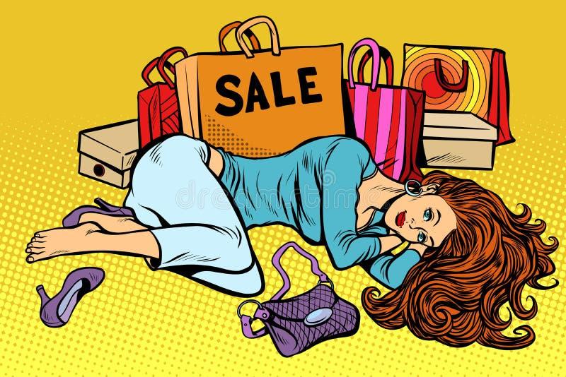 Belle femme après vente illustration stock