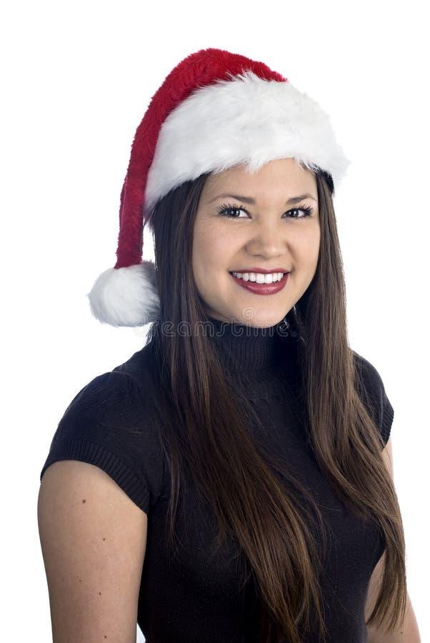 Belle femme asiatique à Noël photographie stock libre de droits
