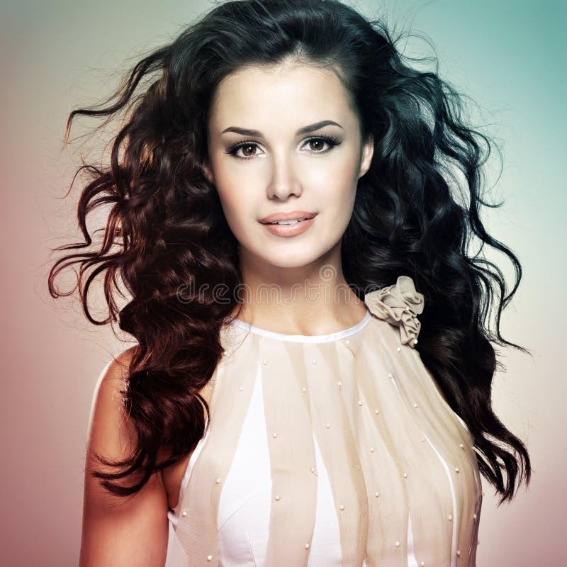 Belle femme avec de longs cheveux bruns - colorize le style photo stock