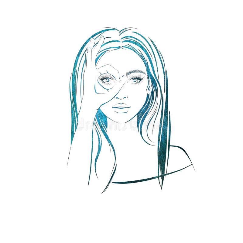 Belle femme avec de longs cheveux foncés, avec croisé ses doigts et ressembler aux jumelles traversantes illustration libre de droits