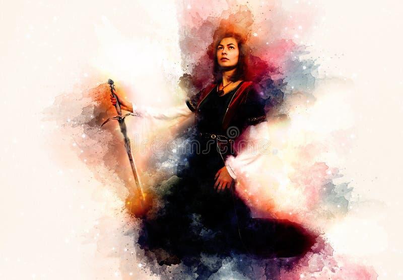 Belle femme avec l'épée à un habillement historique et à un arrière-plan doucement brouillé d'aquarelle illustration stock