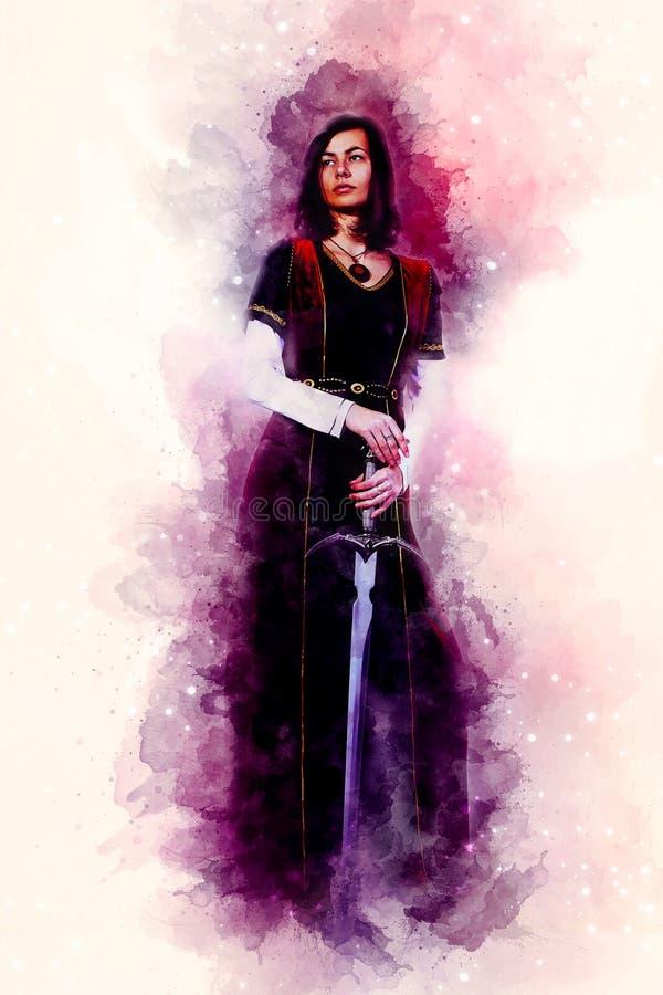 Belle femme avec l'épée à un habillement historique et à un arrière-plan doucement brouillé d'aquarelle illustration de vecteur