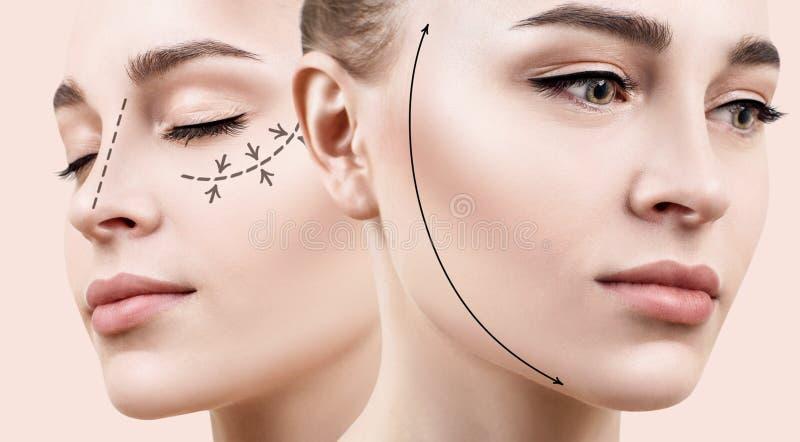 Belle femme avec la flèche de levage sur le visage photographie stock libre de droits