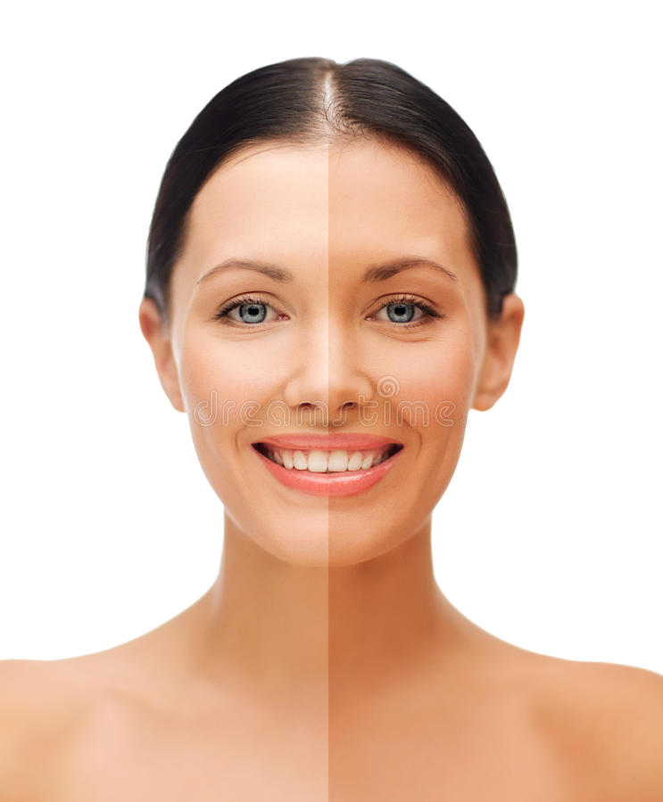 Belle femme avec le demi visage bronzé photos stock