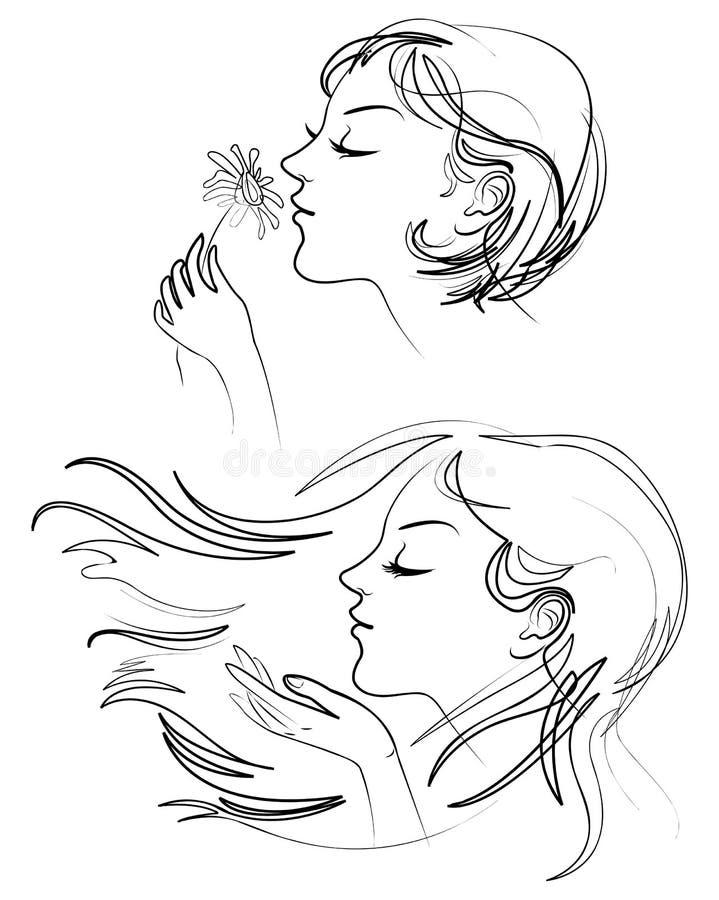 Belle femme avec le long cheveu illustration libre de droits
